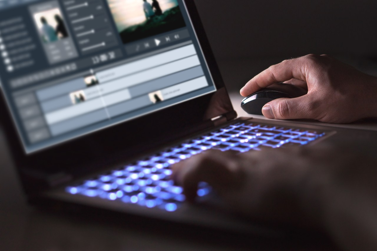 video editing on a laptop