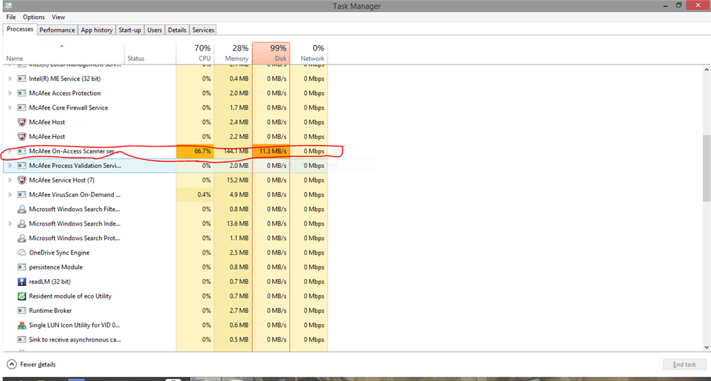 high cpu usage in service manager from mcafee antivirus
