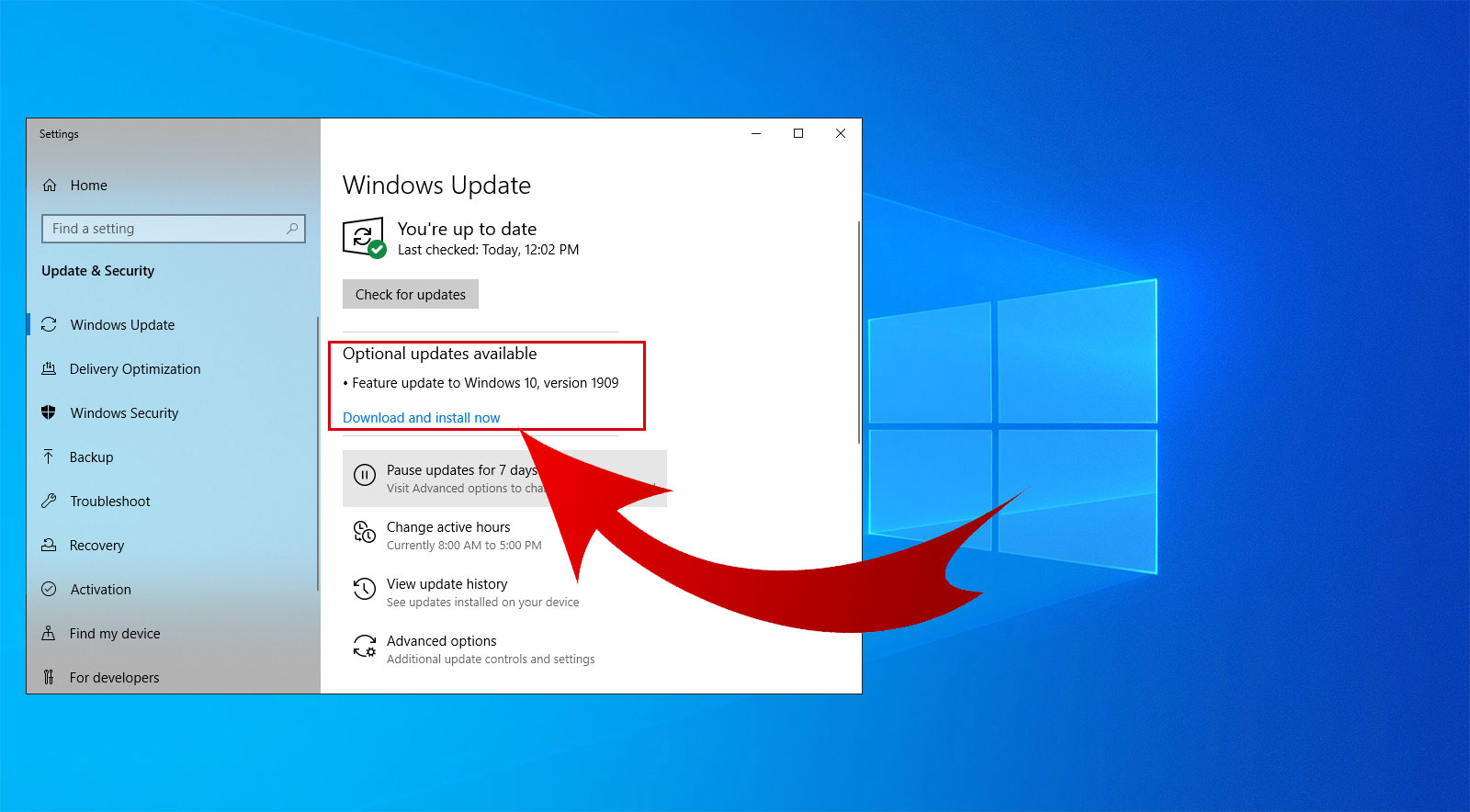 showing the recent updates for Windows 10
