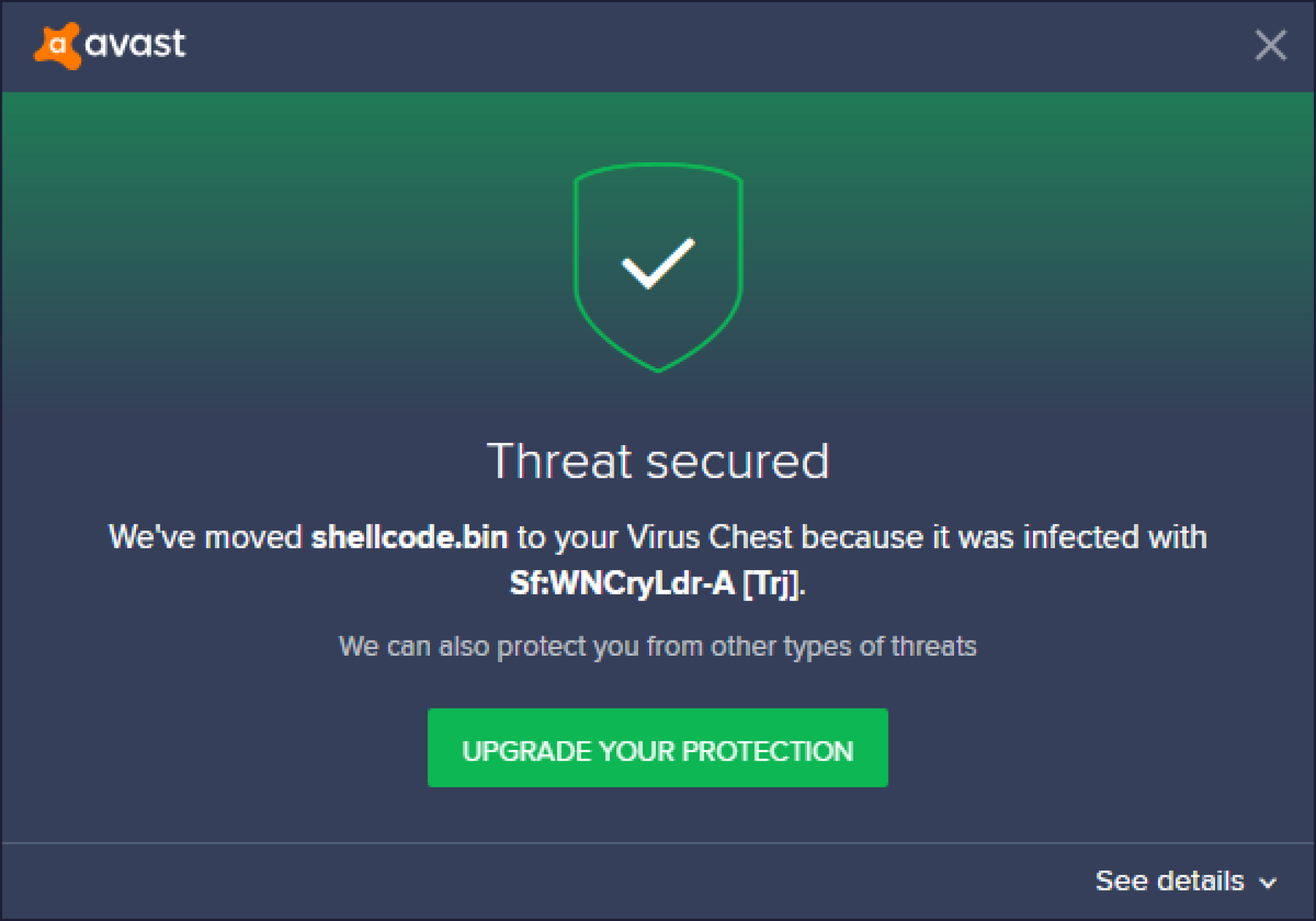 avast detected a virus