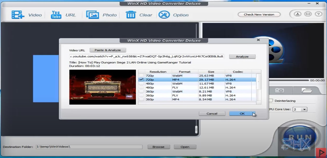 WinXHD Video Converter YouTube Donwload to Laptop Step 3