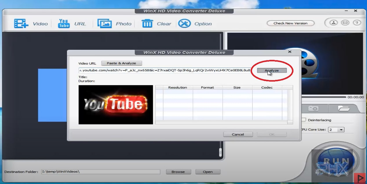 WinXHD Video Converter YouTube Download to Laptop Step 2
