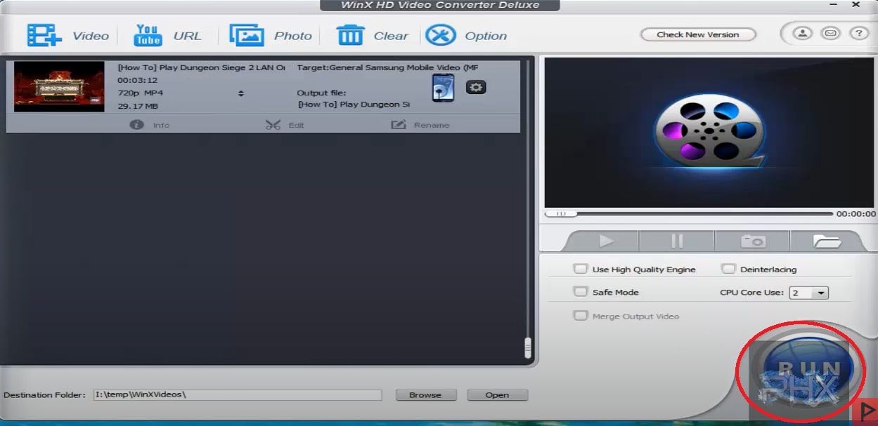 WinXHD Video Converter YouTube Donwload to Laptop Step 7